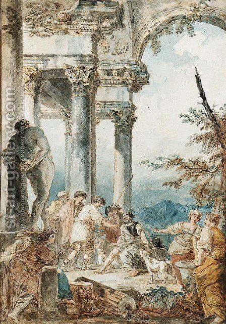 Belisarius begging beneath a Portico by the Farnese Hercules, after Panini by Hubert Robert - Reproduction Oil Painting