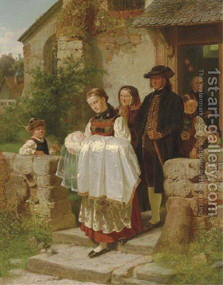Coming Home from the Christening by Hubert Salentin - Reproduction Oil Painting