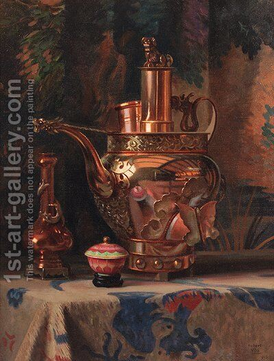 A still life with a Chinese brass kettle by Hubert Vos - Reproduction Oil Painting