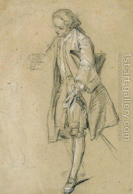 A courtier leaning forward and a faint study of another figure by Hubert-Francois Gravelot - Reproduction Oil Painting