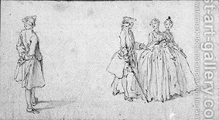 A Gentleman Standing By A Two Ladies And A Gentleman by Hubert-Francois Gravelot - Reproduction Oil Painting