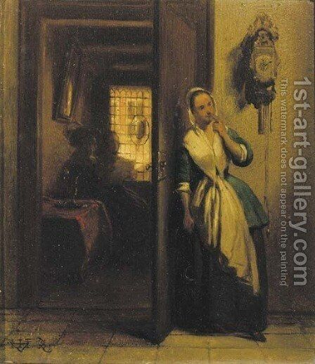 The eavesdropper by Hubertus van Hove - Reproduction Oil Painting