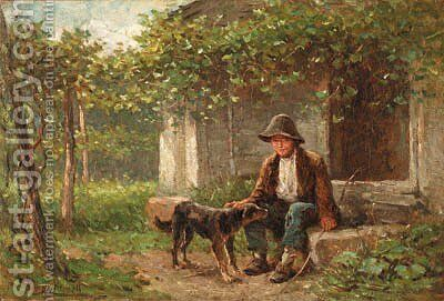 Young Boy with Dog by Hugh Newell - Reproduction Oil Painting