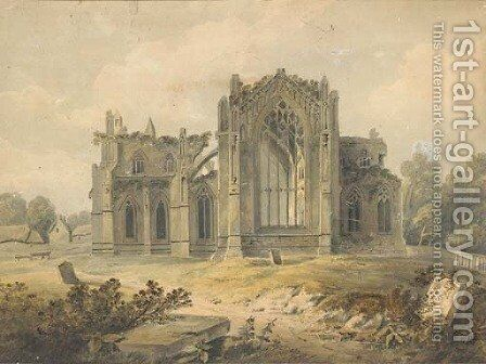A ruined abbey by Hugh William Williams - Reproduction Oil Painting