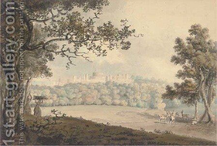 Deer grazing in the Great Park before Windsor Castle by Hugh William Williams - Reproduction Oil Painting