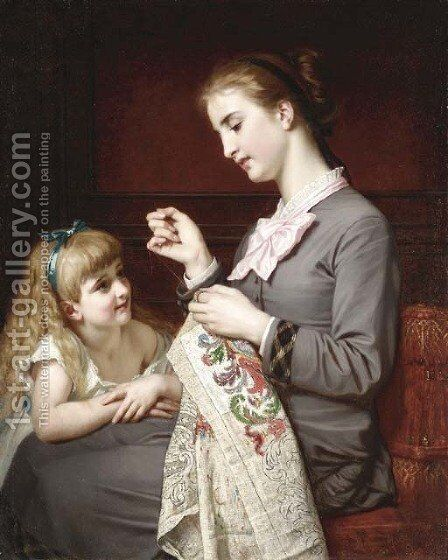 The Embroidery Lesson by Hughes Merles - Reproduction Oil Painting
