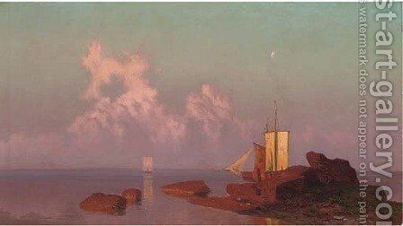 Fishing vessels moored at Konigsberg, sunset by Hugo Knorr - Reproduction Oil Painting