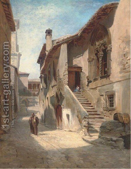 A Jewish street seller on a Siena street by Hugo Paul Harrer - Reproduction Oil Painting