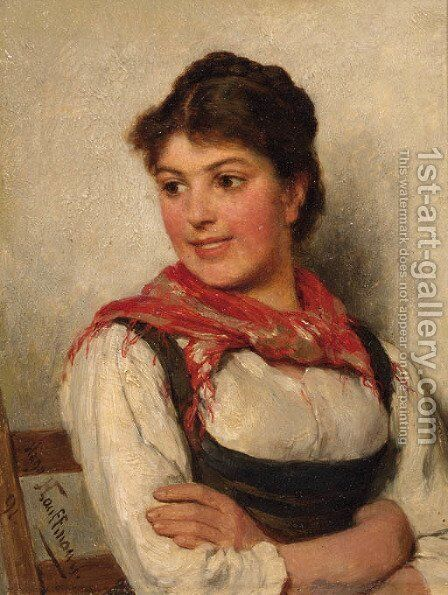 Smiling Dirndl by Hugo Kauffmann - Reproduction Oil Painting