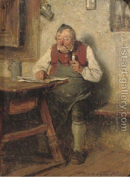 Wirt mit pfeife the content innkeeper by Hugo Kauffmann - Reproduction Oil Painting