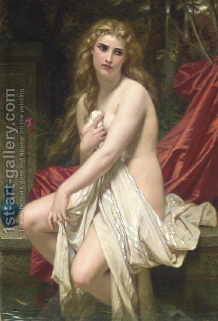 Susannah at her Bath by Hugues Merle - Reproduction Oil Painting