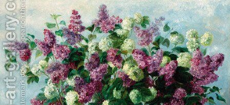 Lilacs by Hungarian School - Reproduction Oil Painting