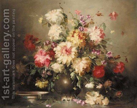 Mixed flowers in a vase by a bowl on a ledge by Hungarian School - Reproduction Oil Painting