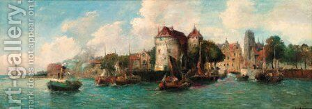 A Continental harbour by Hungarian School - Reproduction Oil Painting