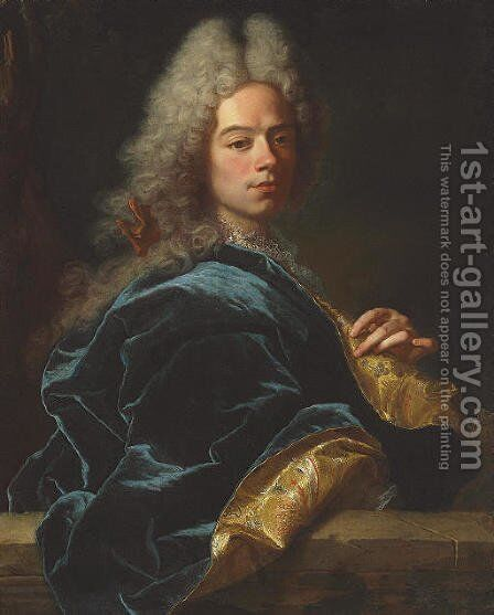 Portrait of Jean-Louis de Roll-Montpellier, half-length, in a blue and gold robe by Hyacinthe Rigaud - Reproduction Oil Painting