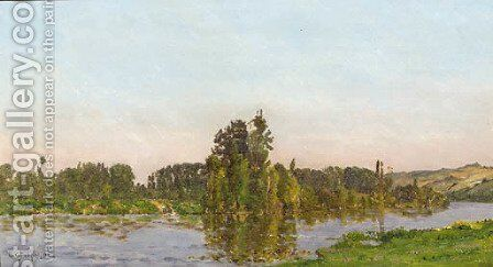 Jour d'ete a river landscape in summer by Hippolyte Camille Delpy - Reproduction Oil Painting