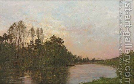 Soleil couchant pres Mantes along a river at dusk by Hippolyte Camille Delpy - Reproduction Oil Painting