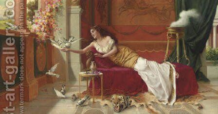 Feeding the Doves by I. Sabatini - Reproduction Oil Painting