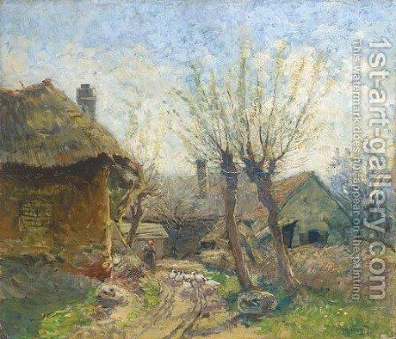 A country farm by Ignac Ujvary - Reproduction Oil Painting