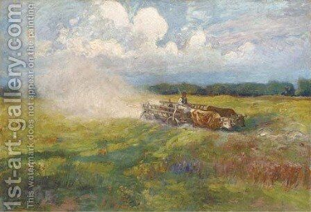 An oxen-drawn cart crossing a field in summer by Ignac Ujvary - Reproduction Oil Painting