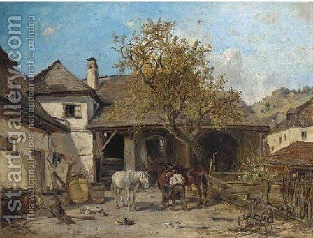 Shoeing the horses by Ignaz Ellminger - Reproduction Oil Painting