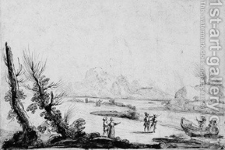 An extensive river landscape with promenading figures by Guercino - Reproduction Oil Painting