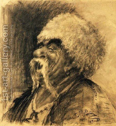 Portrait of a laughing Cossack by Ilya Efimovich Efimovich Repin - Reproduction Oil Painting
