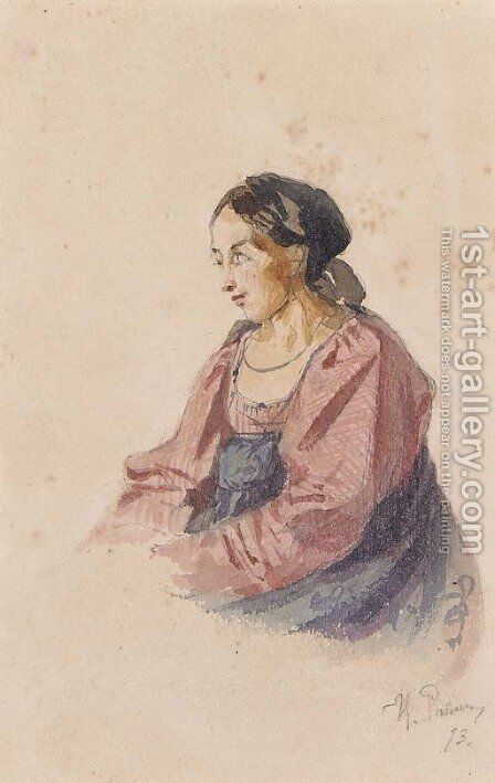 Portrait of an Italian Peasant Woman by Ilya Efimovich Efimovich Repin - Reproduction Oil Painting