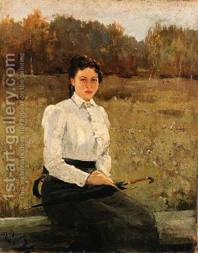 Portrait of N. Repina by Ilya Efimovich Efimovich Repin - Reproduction Oil Painting