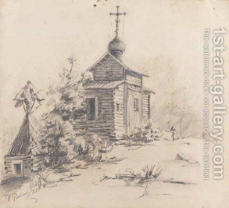 Russian wooden Church in a Graveyard by Ilya Efimovich Efimovich Repin - Reproduction Oil Painting