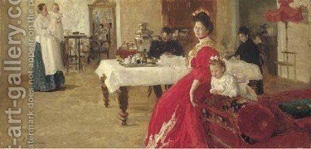 Study of a family portrait by Ilya Efimovich Efimovich Repin - Reproduction Oil Painting