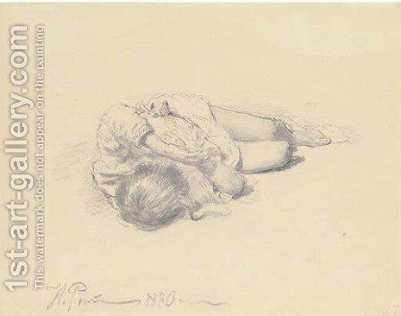 Study of a sleeping child by Ilya Efimovich Efimovich Repin - Reproduction Oil Painting