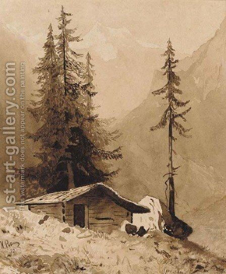 Wooden Hut in an Alpine Landscape by Ilya Efimovich Efimovich Repin - Reproduction Oil Painting