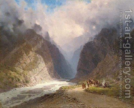 A mountainous landscape with travellers by a stream by Il'ia Nikolaevich Zankovskii - Reproduction Oil Painting