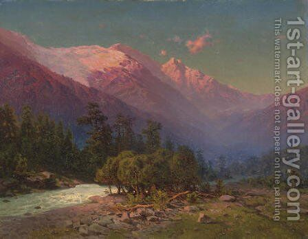 A stream running through snow-capped mountains by Il'ia Nikolaevich Zankovskii - Reproduction Oil Painting