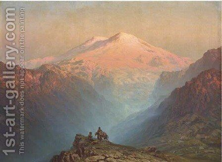 Sunset to the west of Mount Ararat by Il'ia Nikolaevich Zankovskii - Reproduction Oil Painting