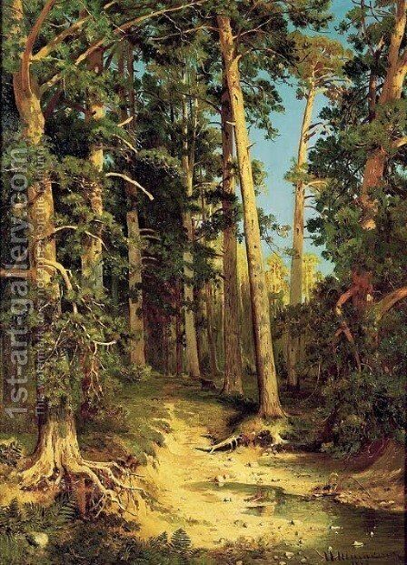 Forest Scene by Ivan Shishkin - Reproduction Oil Painting