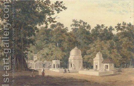 An Indian settlement at the edge of a jungle by Indian School - Reproduction Oil Painting