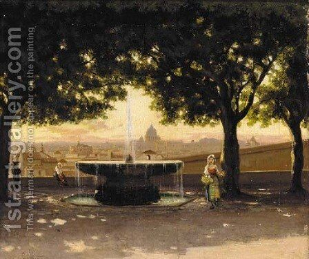 A veduta of Rome by Ippolito Caffi - Reproduction Oil Painting