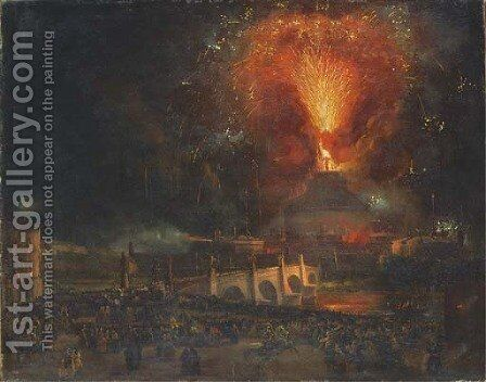 Fireworks over Castel Sant'Angelo, Rome by Ippolito Caffi - Reproduction Oil Painting