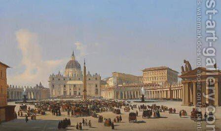 Piazza San Pietro, Roma by Ippolito Caffi - Reproduction Oil Painting