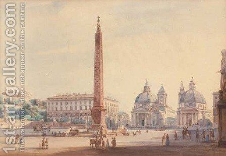 The Piazza del Popolo, Rome by Ippolito Caffi - Reproduction Oil Painting