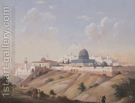 Veduta di Gerusalemme 2 by Ippolito Caffi - Reproduction Oil Painting