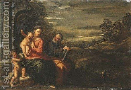 The Holy Family with the Infant Saint John the Baptist by Ippolito Scarsella (see Scarsellino) - Reproduction Oil Painting