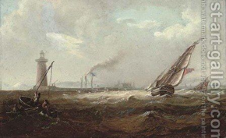 Shipping heeling in the breeze off what is thought to be the South Wall lighthouse, Dublin Bay by Irish School - Reproduction Oil Painting