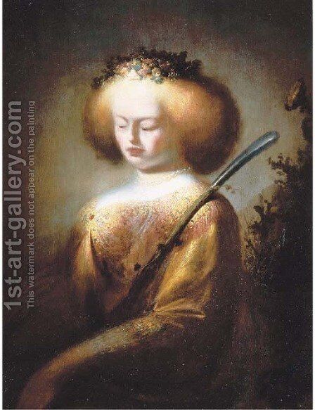 A shepherdess holding a staff by Isaac de Jouderville - Reproduction Oil Painting