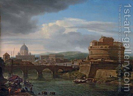 A view of the Tiber, Rome, with the Castel Sant'Angelo and St. Peter's beyond by Isaac de Moucheron - Reproduction Oil Painting