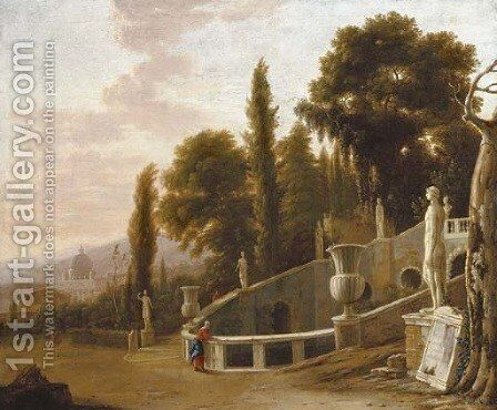 Figures by a fountain with a view of Saint Peter's beyond by Isaac de Moucheron - Reproduction Oil Painting