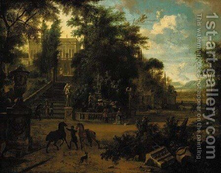 The gardens of a renaissance palace with elegant company, horses and grooms by Isaac de Moucheron - Reproduction Oil Painting