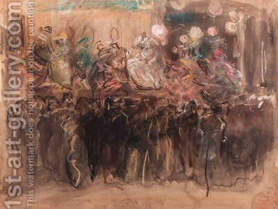 A Paris fair with dancers on stage by Isaac Israels - Reproduction Oil Painting